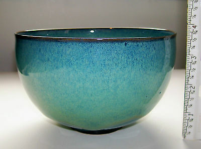 EDWIN & MARY SCHEIER SIGNED POTTERY BLUE BOWL - EXCELLENT CONDITION - VINTAGE