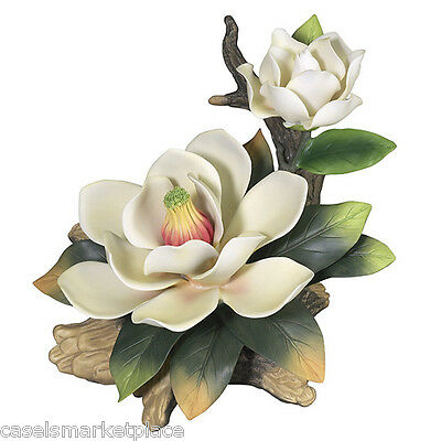 Andrea by Sadek Giant Cream Magnolia on a Branch Porcelain Flower Figurine