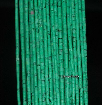2Mm  Turquoise Gemstone Green Round Tube Heishi 2Mm Loose Beads 12.5""