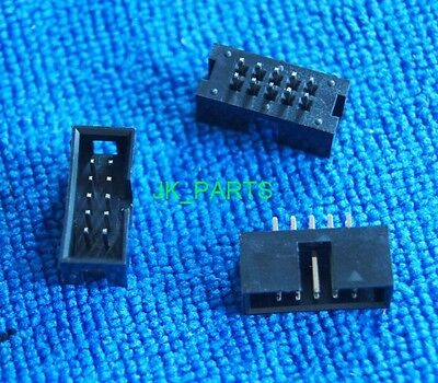 100pcs 2.54mm 2x5 Pin 10 Pin Straight Male Shrouded header IDC Socket