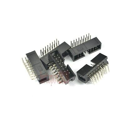 10pcs 2.54mm 2x8 16 Pin Right Angle Male Shrouded PCB Box header IDC Connector