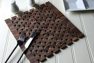 Set of 2 DARK WOOD Square Slatted PLACEMATS Table Mats