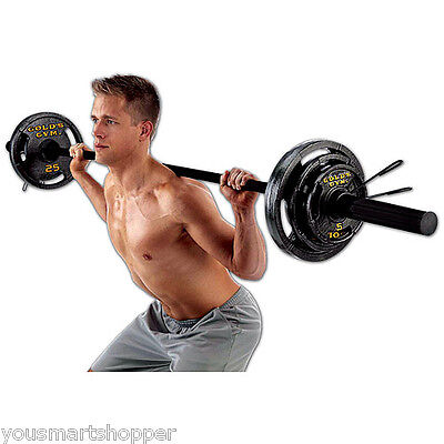 Olympic Weight Set Golds Gym 110 lb Black Plates Barbell Workout Gym Lifting NEW