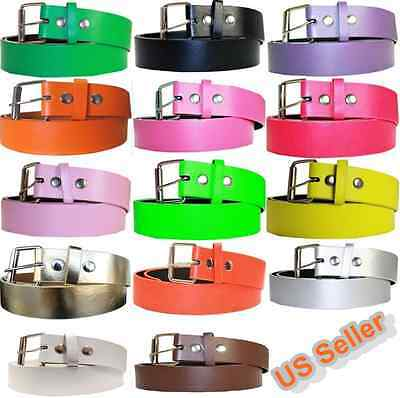 Men Women Multi-Color Solid Casual Bonded Leather Belt Golf Baseball Softball