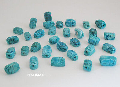 Lot of 20 Ancient Egyptian Ceramic Stone Scarab Beads for Jewelry #1056