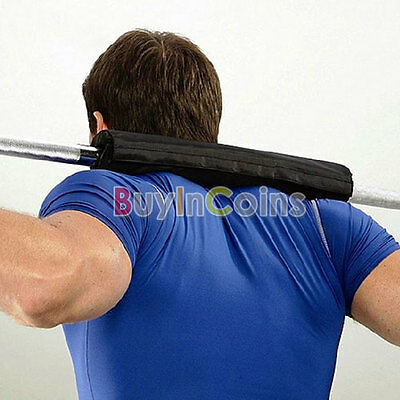 Black Barbell Pad Gel Supports Squat Bar Weight Lifting Pull Up Gripper Exercise