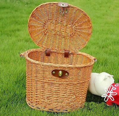 Willow Wicker Storage Basket W/ Lid Carrying 10kg For Dogs Pets Shopping Stuff