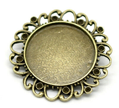 Wholesale Lots Bronze Tone Round Cabochon Frame Setting Brooches 38mm