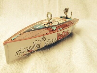 Tin Wind Up Popeye Speed Boat 1996 Limited Edition Works FREE S/H