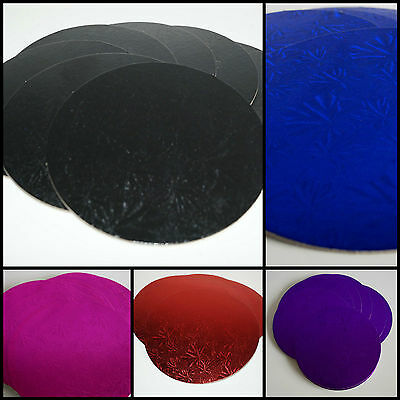"Cake Board Double Thick Round Boards in Various Colours 3mm thick Size 10"" & 12"""
