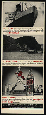1939 QUEEN MARY Cruise Ship - Firth Of Clyde - JOHNNIE WALKER Scotch  VINTAGE AD