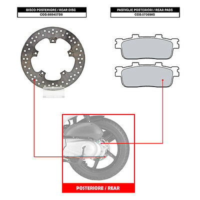 Brembo Rear Disc (+ Brake Pads) - Kymco G-Dink 300 (From 2012) - 68B407D8