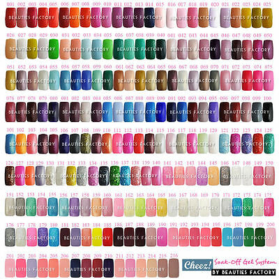 Pro 1 - 216 Full Collection Cheez Soak Off UV Gel Polish Nail Pick 1 Color 15 ml