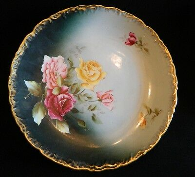 Vintage Large Hand Painted Trianon Germany Plate Roses and Gold Trim