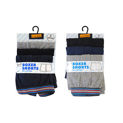 Boys Childrens 3 Pair Pack Cotton Boxer Shorts Age 5 - 12 Years