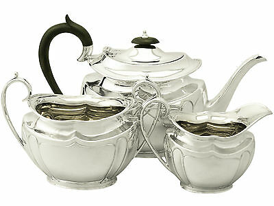 Antique, Sterling Silver Three Piece Tea Set, George V - 1900-1940