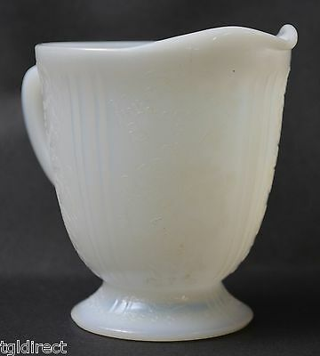 Vintage Opalescent Milk Glass Creamer Victorian Pattern Home Decor Collectible