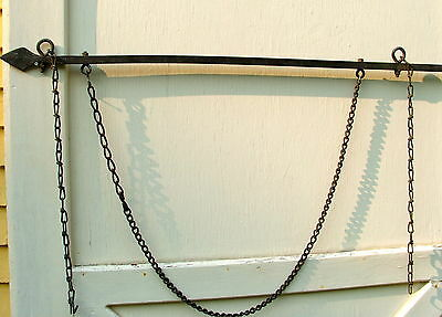 Vintage Large Hand Forged Iron Sign Bracket W/arrow Point