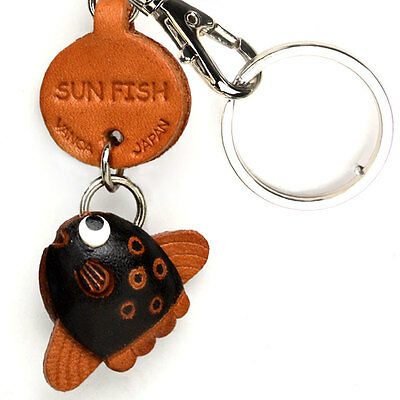 Flat Fish Handmade 3D Leather Keychain//Keyring *VANCA* Made in Japan #56169 L