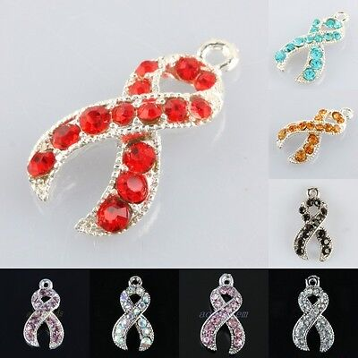 Crystal Rhinestone Ribbon Awareness Disease Cancer Charms Pendant For Necklace