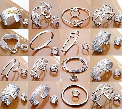 Wholesale Solid 925Sterling Silver Jewelery Bracelet Bangle Earrings Rings Gifts