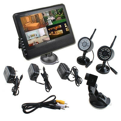 """Wireless 4CH Quad DVR 2 Cameras with 7"""" TFT LCD Monitor Home Security System"""