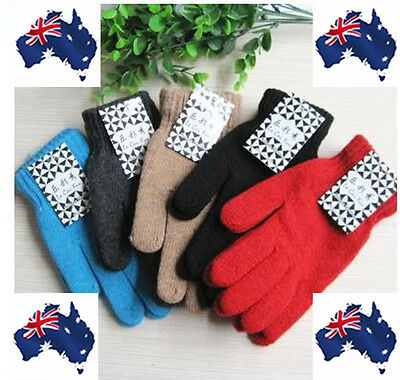 Fashion Women Men Winter Gloves Wool Warm Full Finger Gloves