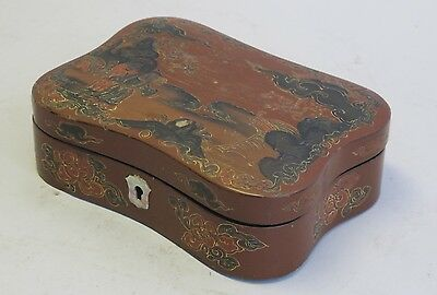 Antique Japanese Box Cinnabar & Black Lacquer Box  c. 1900   Hand-Painted
