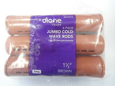 """Diane 1 1/2"""" Jumbo Cold Wave Rods Curlers Hair Perm #DCW15 6-pieces - Brown"""