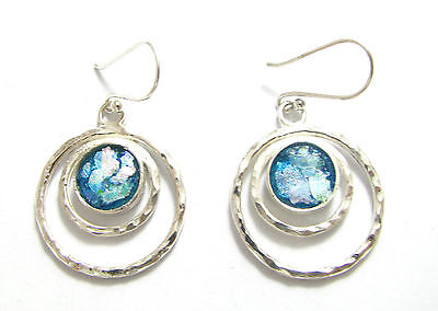 Best Quality Colorful Ancient Roman Glass 925 Sterling  Silver Earrings