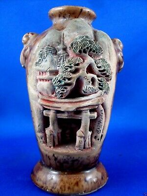 Early Vintage HAND-CARVED Japan MOUNTAIN TEMPLE Pottery Vase VG Collectable - Au