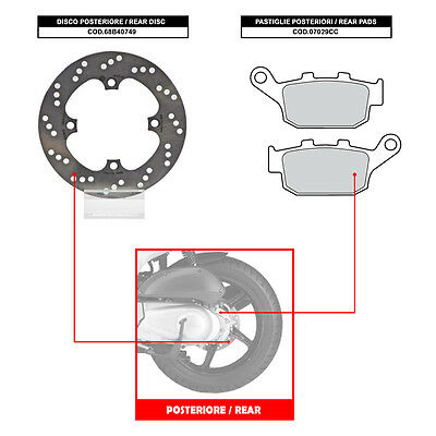 Brembo Rear Disc (+ Brake Pads) - Honda Fes Pantheon 125 (From 2003) - 68B40749