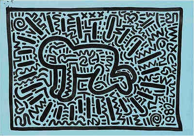 by Keith Haring Art Print Pop Poster 11x14 pyramid with UFOs 1984 Untitled
