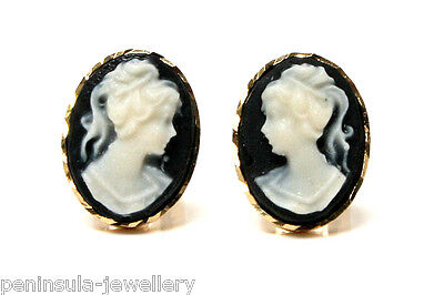 9ct Gold Black Cameo Stud earrings Gift Boxed Made in UK