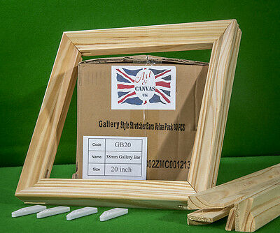 """20"""" x 38mm Gallery Canvas Pine Stretcher Bars, Value Pack ( 30 Bars Per Box )"""