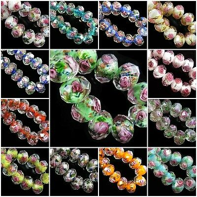 12mm Rondelle Faceted Glass Crystal Rose Flower Inside Lampwork Beads Spacer HOT