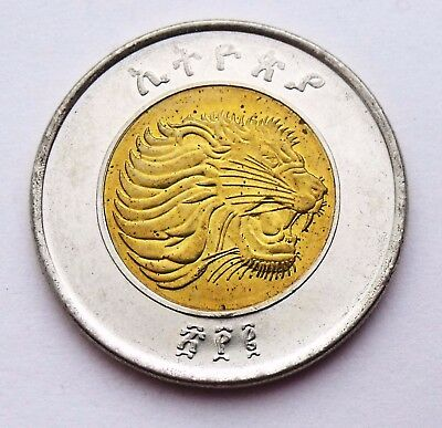 Ethiopia 1 Birr 2002 - 2010 Animal Lion - Scale Bimetal Bimetallic Coin Unc