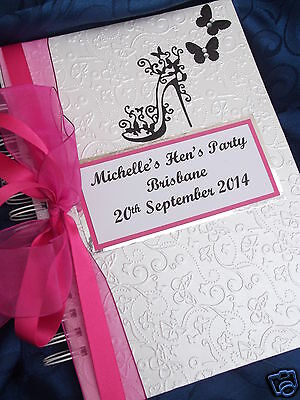 Hen Night /party Guest Book Personalised Boxed Large Sexy High Heel Glam Design