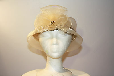Women's White and Gold Sinamay Open Top Dress Hat with Bow