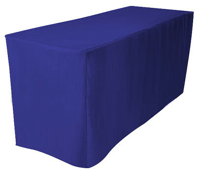 "4' Fitted 24"" Width Polyester Tablecloth Wedding Banquet Table Cover ROYAL BLUE"