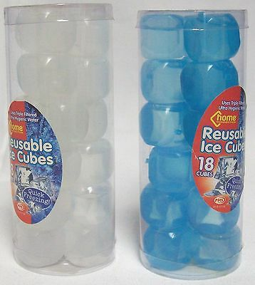 2 x Packs Of Reusable Fast Freeze Ice Cubes 36 Cubes In Total Blue & White