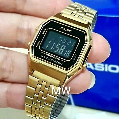 New Casio Ladies Black Display Gold Classic Digital Watch La680Wga-1B La680