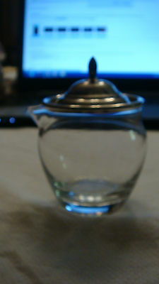 Crystal Small Pitcher or Creamer w Wallace Sterling Silver Lid