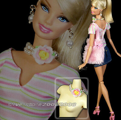 Fashion outfit clothes /purse + Jewelry necklace earrings for Barbie doll 169A