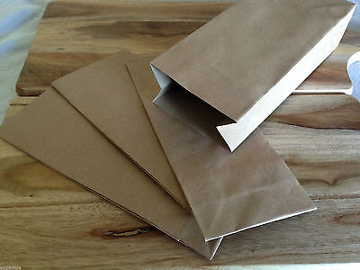 Small or Medium - Brown Paper Kraft Flat Bottom Bags Lolly Gift Wedding Favour