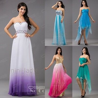 Purple Chiffon Formal Long Cocktail Party Gown Bridesmaid Prom Evening Dresses