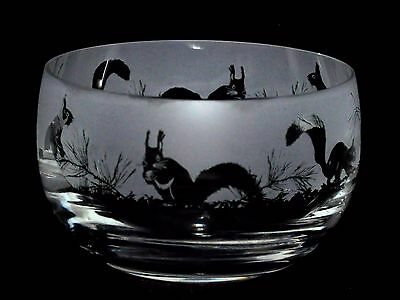 SQUIRREL GIFT  12.5cm BOXED CRYSTAL GLASS SWEET BOWL with SQUIRREL  FRIEZE