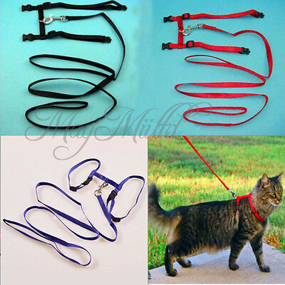Nylon Pet Cat Kitten Adjustable Harness Lead Leash Collar Belt Safety Rope H