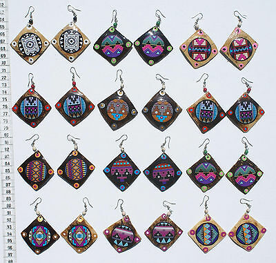 Lot 7 Pairs Color Ethnic Tribal Ornament Peru Dangle Earrings Artisan Jewelry