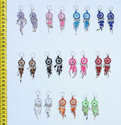 Lot 10 Pairs Colored Spider Net Dangle Earrings Handcrafted Peruvian Jewelry